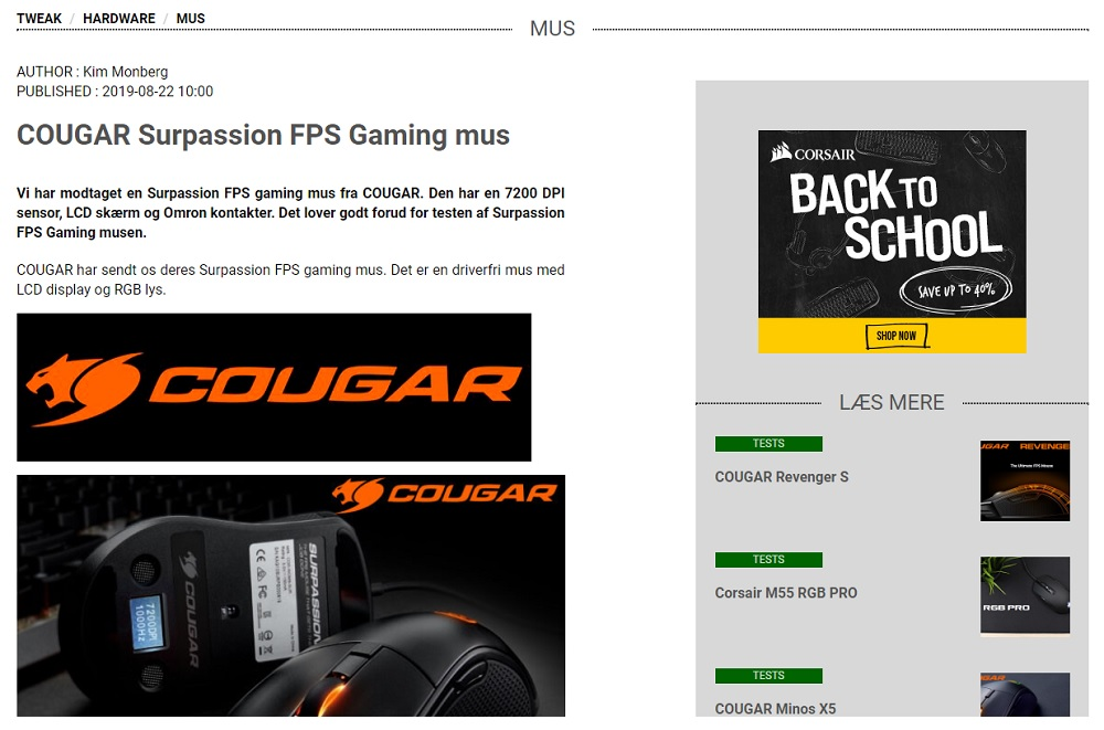 Cougar Surpassion Gaming Mus